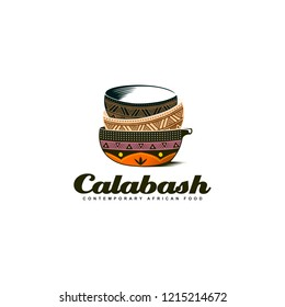 Traditional African Calabash bowl colorful logo design illustration