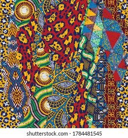 Traditional african fabric and wild animal skins patchwork abstract vector seamless pattern