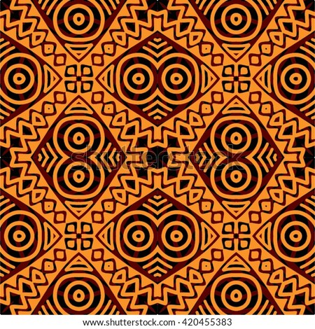 Traditional African Tribal Kitenge Inspired Seamless Stock Vector Beauteous African Tribal Patterns