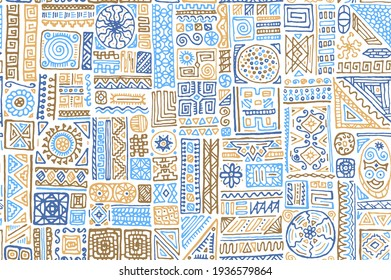 Traditional african vector seamless ornament. Fashion textile print design. African or polynesian ethnic tribal hand drawn swatch. Vintage doodle patchwork. Seamless pattern with hipster motifs.