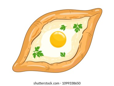Traditional ajarian and georgian dish - khachapuri. Freshly baked flat bread filled with cheese and egg, leaves of parsley on top, isolated on white background. Vector hand drawn illustration.