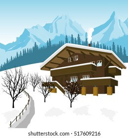 traditional alpine chalet in the mountains of Alps