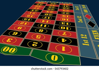 Traditional American Roulette Table perspective vector illustration