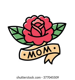 Traditional American style rose tattoo with ribbon and word Mom. Old school retro tattoo vector illustration.