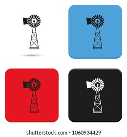 Traditional American windmill simple flat vector icon.