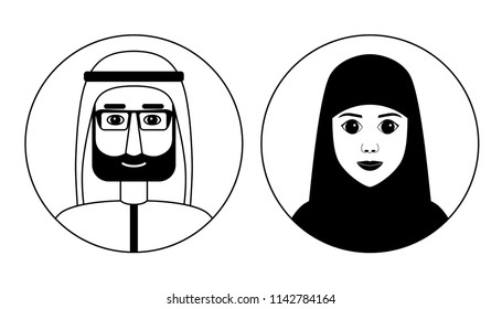 Traditional arabian muslim couple. Man and woman avatars set. Flat style graphic vector illustration. Black and white line art isolated on white background