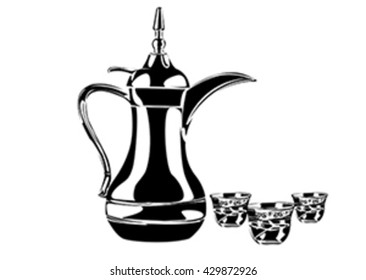 Traditional arabic coffee mug and coffee cup