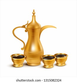 Traditional Arabic coffee pot (dallah) with cups isolated on white. Vector illustration.