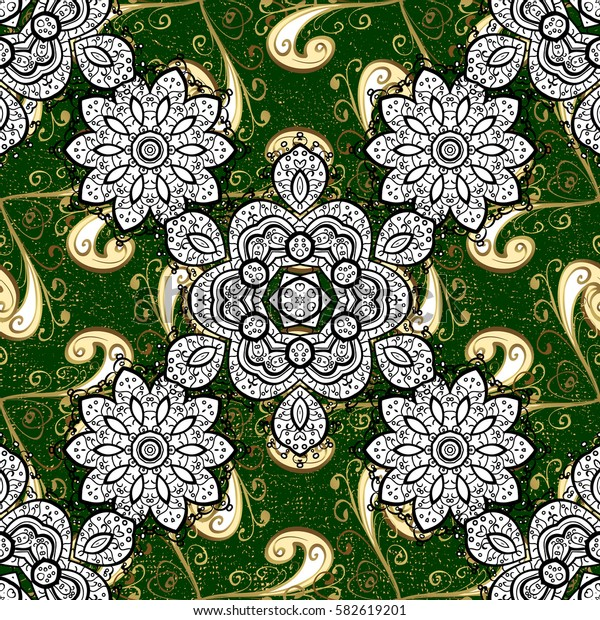 Traditional arabic decor on green background. Golden ornate illustration for wallpaper. Vintage design element in Eastern style. Ornamental lace tracery. Vector pattern with floral ornament.