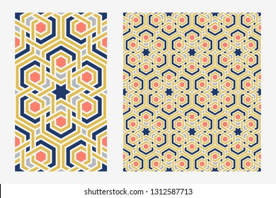 Traditional arabic islam geometric art. Single floor tile and arabesque seamless repeat pattern. Moroccan patterned wall tiles. Vector illustration.
