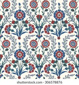 Traditional Arabic  ornament seamless. Floral Ornamental pattern. Iznik .Vector.  Background
