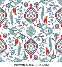 Traditional  Arabic ornament seamless for your design. Floral ornamental seamless pattern  for ceramic tile, desktop wallpaper,  interior decoration, wrapping paper, graphic design and textile. Iznik.