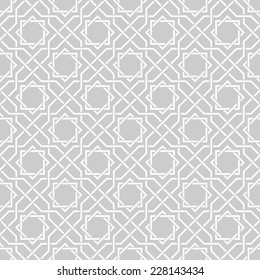 Traditional arabic tangled pattern. Seamless vector background. Plain colors - easy to recolor.