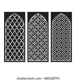 Traditional Arabic Window and Door Pattern, vector set
