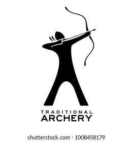 Traditional archery logo. Vector silhouette of a nomad warrior armed with a medieval oriental bow. Black archer stretching a composite recurve bow during a competition of long range arrow shooting.