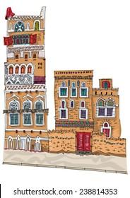 Traditional architecture in mountain village, Yemen - cartoon