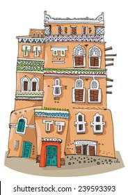 Traditional architecture in Sana'a, Yemen - cartoon