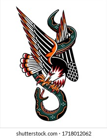 traditional art design tattoos eagle againts snake
