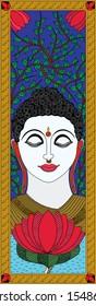 Traditional art Madhubani Painting: gautam buddha