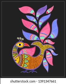 Traditional art  Madhubani Painting: vector
