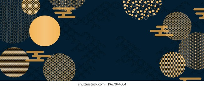 Traditional Asian background, eastern patterns elements, clouds, gold on blue, copy space. Oriental style vector illustration. Design concept for Chinese New Year, Mid Autumn Festival poster, banner.