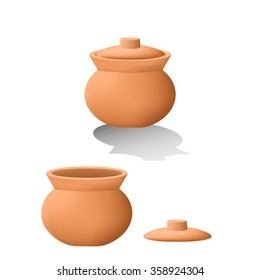 Traditional asian clay pot in 3D. mesh vector