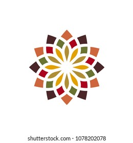 Traditional Asian Colorful Floral Pattern Stained Glass Mosaic Tiles Logo design inspiration