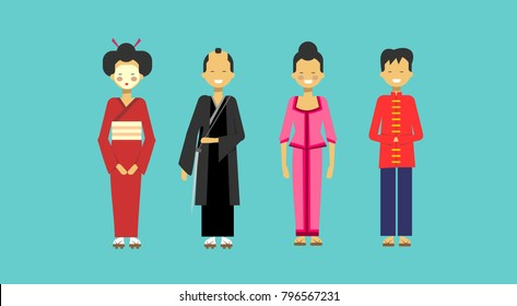 Traditional Asian Costumes Set People Wearing Kimono Chinese And Japanese Clothes Flat Vector Illustration