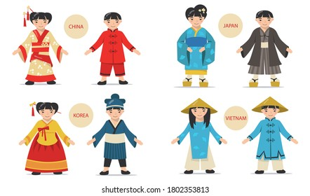 Traditional Asian couples set. Cartoon Chinese, Japanese, Korean, Vietnamese men and women wearing national costumes, kimonos and hats. For history, fashion, culture concepts