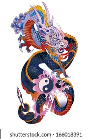 Traditional Asian dragon holding yin yang symbol and a sword, detailed vector illustration.