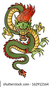 Traditional Asian Dragon. This is vector illustration ideal for a mascot and tattoo or T-shirt graphic.