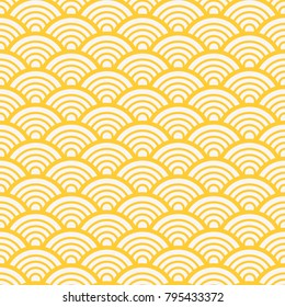 Traditional asian gold wave pattern. Seamless background Vector illustration