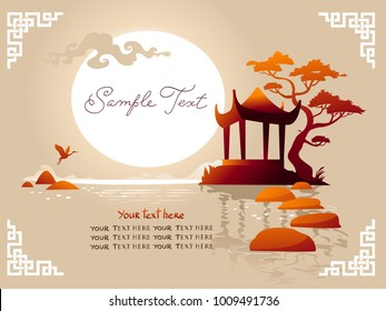 Traditional asian Landscape with pagoda, sunset and lake. Vector background.