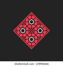 Traditional asian ornament. Vector red arabic rhombus geometric symbol