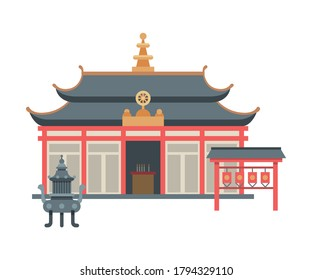 Traditional Asian Pagoda Religious Building, Buddhist Temple Vector Illustration