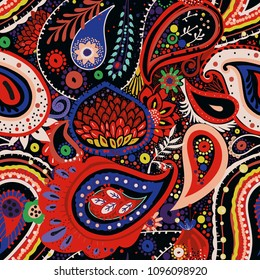 Traditional Asian Paisley pattern in modern design. Seamless pattern. Hand drawing - intentional slight negligence