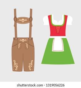 Traditional austrian and bavarian costume. lederhosen and dirndl decorated with floral embroidery. Oktoberfest outfit. Vector flat illustration