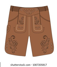 Traditional austrian and bavarian lederhosen (leather pants) decorated with floral embroidery. Oktoberfest outfit. Vector hand drawn illustration.