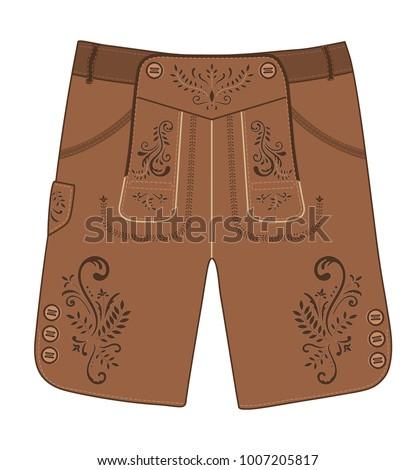 Traditional austrian and bavarian lederhosen (leather pants) decorated with  floral embroidery. Oktoberfest outfit 9c9ab3fad