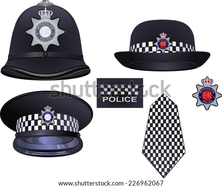 8a761a26b5e A traditional authentic helmet and hat of metropolitan British police  officers - Vector