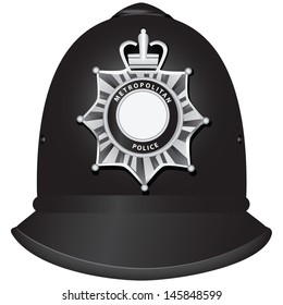A traditional authentic helmet of metropolitan British police officers. Vector illustration.