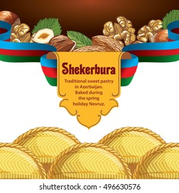 Traditional Azerbaijan sweet pastry shekerbura. Shekerbura baked during the spring holiday Novruz. Vector illustration for design, menu, cafe billboard. Sweet cake