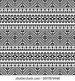 Traditional aztec seamless ethnic pattern texture design vector in black white color