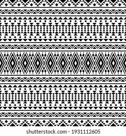 Traditional aztec seamless pattern ethnic design in black white color