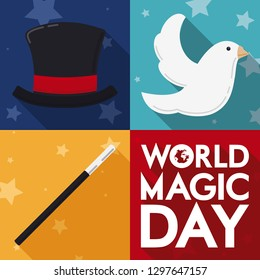 Traditional basic set to perform a trick during World Magic Day in flat style and long shadow: magician top hat, magic wand and dove.