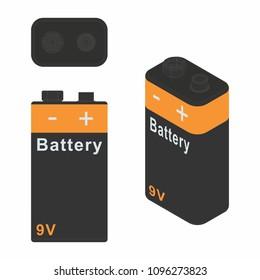 Traditional Battery 9V. Dark colors.