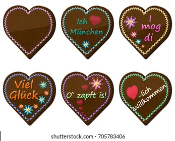 Traditional bavarian souvenir from Oktoberfest. Set of gingerbread heart. Translation: I love Munich, I like you, good luck, welcome, It's tapped!