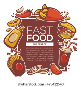 traditional best of american fastfood ingredients for your menu, banner or flyer template