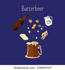 Traditional beverage recipe of butterbeer with alcohol and spicy