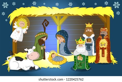 traditional birth, with the main characters in the Christmas customs.